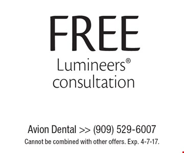 Free Lumineers® consultation. Cannot be combined with other offers. Exp. 4-7-17.