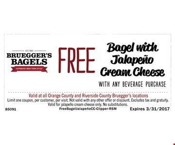 Free Bagel With Jalapeño Cream Cheese