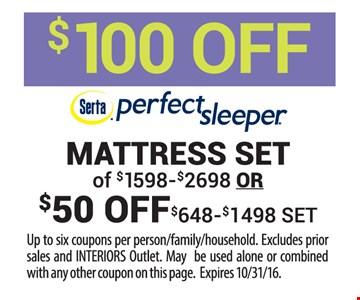 $100 off perfect sleeper mattress set
