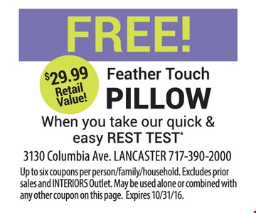 Free feather touch pillow