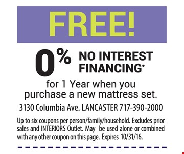 Free 0% no interest financing