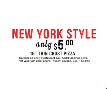 $5 new york style pizza