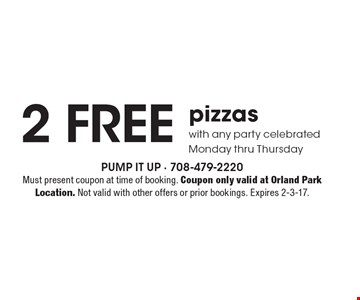 2 free pizzas with any party celebrated Monday thru Thursday. Must present coupon at time of booking. Coupon only valid at Orland Park Location. Not valid with other offers or prior bookings. Expires 2-3-17.