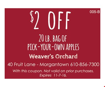 $2 off 20 lb. Bag of Pick-Your-Own Apples