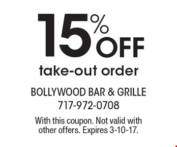 15% Off take-out order. With this coupon. Not valid withother offers. Expires 3-10-17.