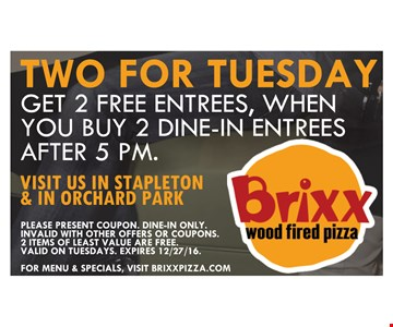 Get 2 Free Entrees, When You Buy 2 Dine-In Entrees After 5PM