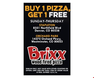 Buy one pizza, get one free. Sunday-Thursday. Dine-in only. Not valid with other coupons or offers. Limit one per table. Item of lesser value is free. Expires 12-31-16.