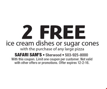 2 free ice cream dishes or sugar cones with the purchase of any large pizza. With this coupon. Limit one coupon per customer. Not valid with other offers or promotions. Offer expires 12-2-16.