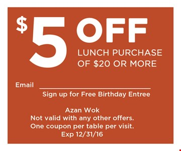$5 off your $20 purchase.