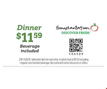 $11.59 dinner