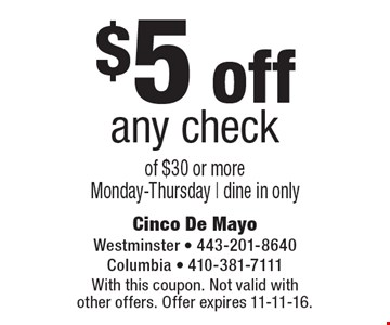 $5 off any check of $30 or moreMonday-Thursday. Dine in only. With this coupon. Not valid with other offers. Offer expires 11-11-16.