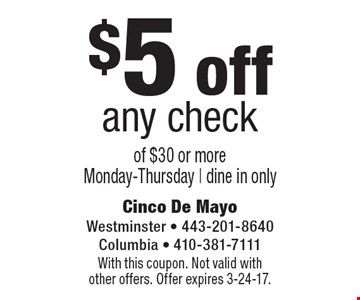 $5 off any check of $30 or more Monday-Thursday. dine in only. With this coupon. Not valid with other offers. Offer expires 3-24-17.