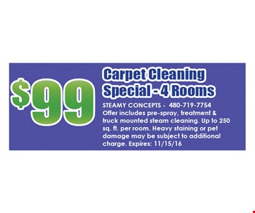 $99 Carpet Cleaning Special-4 Rooms