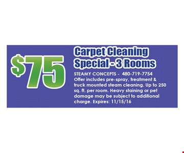 $75 Carpet Cleaning Special-3 Rooms
