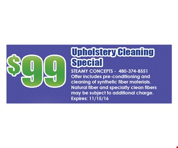 $99 Upholstery Cleaning Special