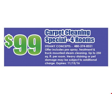 $99 Carpet Cleaning Special - 4 Rooms