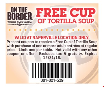 Free cup of soup with purchase.