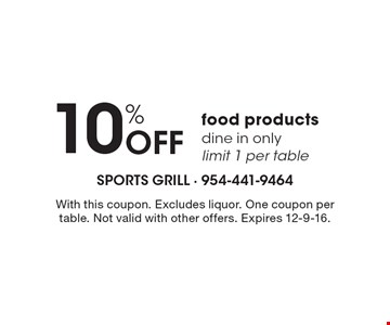 10% Off food products. Dine in only. Limit 1 per table. With this coupon. Excludes liquor. One coupon per table. Not valid with other offers. Expires 12-9-16.