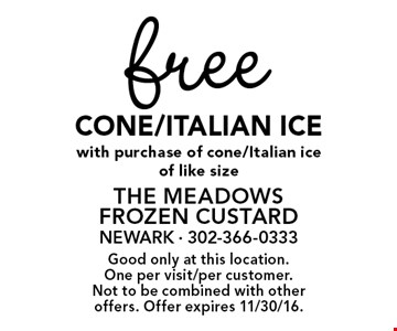 Free cone/Italian ice with purchase of cone/Italian ice of like size. Good only at this location. One per visit/per customer. Not to be combined with other offers. Offer expires 11/30/16.