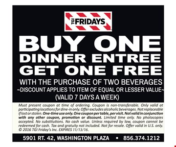But one dinner entree, get one free