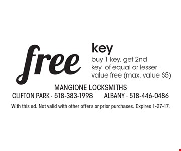 Free key – Buy 1 key, get 2nd key of equal or lesser value free (max. value $5). With this ad. Not valid with other offers or prior purchases. Expires 1-27-17.