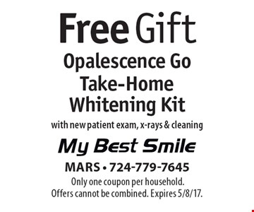 Free Opalescence Go Take-Home Whitening Kit with new patient exam, x-rays & cleaning. Only one coupon per household. Offers cannot be combined. Expires 5/8/17.