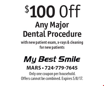 $100 Off Any Major Dental Procedure with new patient exam, x-rays & cleaning for new patients. Only one coupon per household. Offers cannot be combined. Expires 5/8/17.