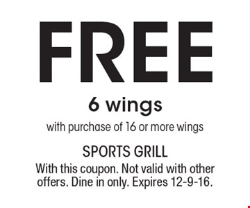 Free 6 wings with purchase of 16 or more wings. With this coupon. Not valid with other offers. Dine in only. Expires 12-9-16.