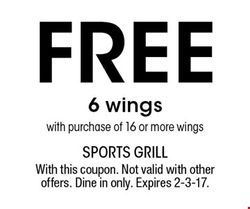Free 6 wings with purchase of 16 or more wings. With this coupon. Not valid with other offers. Dine in only. Expires 2-3-17.