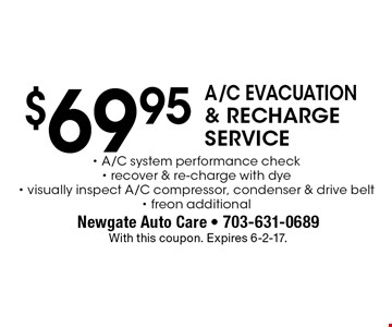 $69.95 A/C evacuation & recharge service. A/C system performance check, recover & re-charge with dye, visually inspect A/C compressor, condenser & drive belt- freon additional. With this coupon. Expires 6-2-17.
