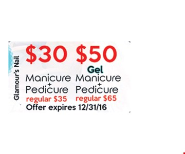 Manicure and pedicure for as low as $30.