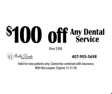 $100 off Any Dental Service Over $100. Valid for new patients only. Cannot be combined with insurance. With this coupon. Expires 11-11-16.