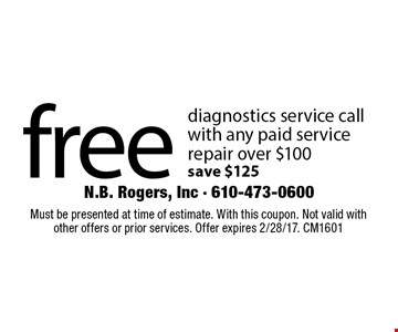 Free diagnostics service call with any paid service repair over $100. Save $125. Must be presented at time of estimate. With this coupon. Not valid with other offers or prior services. Offer expires 2/28/17. CM1601