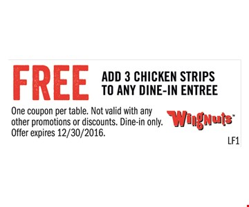 Free Add 3 Chicken Strips to Any Dine-In-Entree