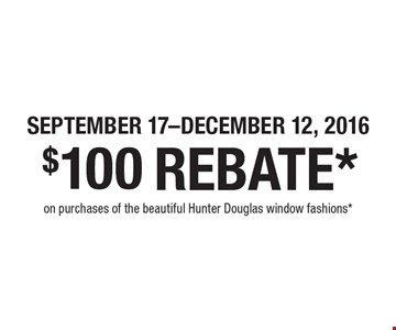 SEPTEMBER 17-DECEMBER 12, 2016. $100 REBATE* on purchases of the beautiful Hunter Douglas window fashions*.