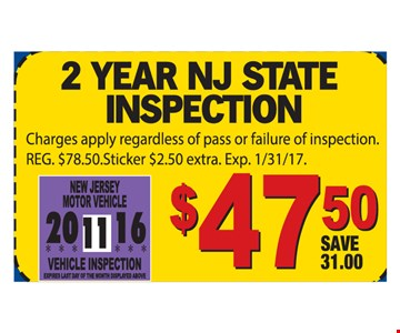 2 year NJ state inspection $47.50