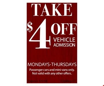 $4 off Vehicle Admission