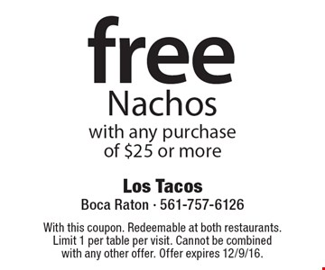 free Nachos with any purchase of $25 or more. With this coupon. Redeemable at both restaurants. Limit 1 per table per visit. Cannot be combined with any other offer. Offer expires 12/9/16.