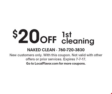 $20 Off 1st cleaning. New customers only. With this coupon. Not valid with other offers or prior services. Expires 7-7-17.Go to LocalFlavor.com for more coupons.