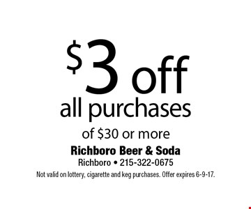 $3 off all purchases of $30 or more. Not valid on lottery, cigarette and keg purchases. Offer expires 6-9-17.