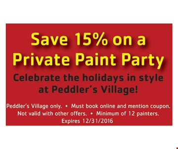 Save 15% On Private Paint Party