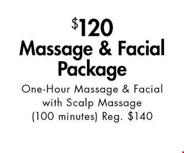 $120 Massage & Facial Package One-Hour Massage & Facial with Scalp Massage (100 minutes) Reg. $140. With this ad. Valid at Village Health Wellness Spa Marietta only. Not valid with other offers. Exp. 9/29/17.