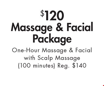 $120 Massage & Facial Package. One-Hour Massage & Facial with Scalp Massage (100 minutes). Reg. $140. With this ad. Valid at Village Health Wellness Spa Marietta only. Not valid with other offers. Exp. 11/3/17.