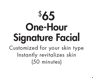 $65 One-Hour Signature Facial Customized for your skin type. Instantly revitalizes skin (50 minutes). With this ad. Valid at Village Health Wellness Spa Marietta only. Not valid with other offers. Exp. 5-12-17.