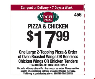 $17.99 Pizza and chicken