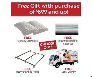 Free gift with purchase of $899 and up.