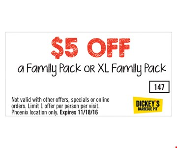 $5 off a family pack or xl family pack. Exp. 11-18-16