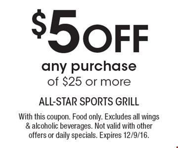 $5 off any purchase of $25 or more. With this coupon. Food only. Excludes all wings & alcoholic beverages. Not valid with other offers or daily specials. Expires 12/9/16.
