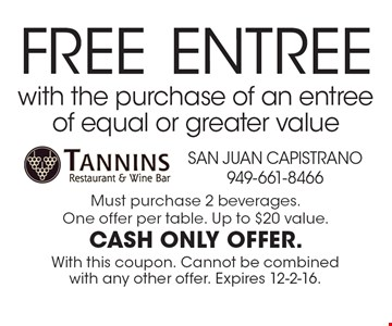 Free entree with the purchase of an entree of equal or greater value. Must purchase 2 beverages. One offer per table. Up to $20 value. Cash only offer. With this coupon. Cannot be combined with any other offer. Expires 12-2-16.
