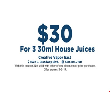 $30 For 3 30ml House Juices